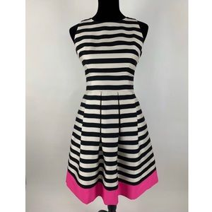 ELIZA J Striped Pink White Black Dress 6 A-Line